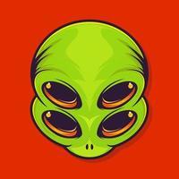 adesivo alienígena com quatro olhos. extraterrestre. patch ufo. ilustração vetorial para design de t-shirt. vetor