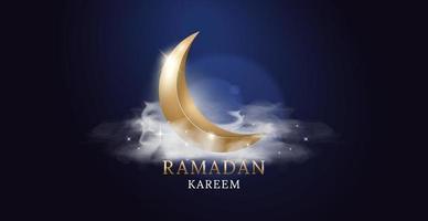 lua dourada com nuvens e luzes. ramadan kareem arabic fest. desenho de ilustração vetorial. desenho de ilustração vetorial. vetor