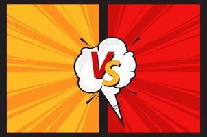 versus letras vs luta fundo no estilo de quadrinhos com bolha do discurso. quadros vermelhos e amarelos com efeito de energia. vetor