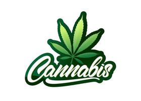 cannabis em letras de estilo com folha e logotipo gradiente. emblema colorido do vetor