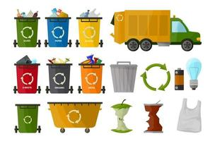 caminhão de lixo e vários tipos de lixeira, isolados no fundo branco, em estilo cartoon. coleta de lixo de roda. recipiente. sinal de processamento de lixo vetor