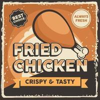 cartaz de sinalização de frango frito retrô rústico clássico vetor