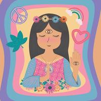 fofo lindo boho boêmio gypsy hippie girl vetor