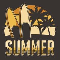 prancha de surf de verão tropical rústico clássico retro vintage sinalização cartaz vetor