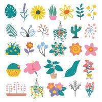 conjunto de folhas coloridas e flores estilo plano simples dos desenhos animados vetor