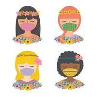 definir linda garota usando máscara facial com vetor de personagem de cor plana de flores