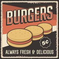 pôster retrô vintage de hambúrguer vetor