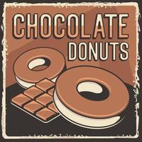 donuts de chocolate rústico clássico retrô vintage sinalização vetor de pôster