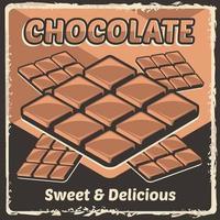 barra de chocolate cacau choco rústico clássico retro sinalização vintage vetor de pôster