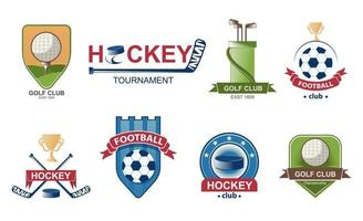 conjunto de logotipos de futebol. emblema da coleção de golfe. emblemas de etiquetas de hóquei. ilustração vetorial. vetor
