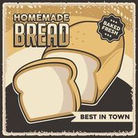 poster retro vintage pão caseiro vetor