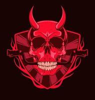 crânio do diabo com leme moto nos dentes. ilustração vermelha para impressão de t-shirt. ilustração de moda vetorial vetor