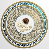 ramadan kareem cartão islâmico padrão floral desenho vetorial com caligrafia árabe para plano de fundo, banner. tradução do texto ramadan kareem - que a generosidade o abençoe durante o mês sagrado