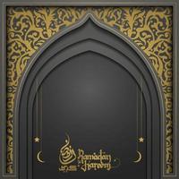 ramadan kareem cartão islâmico padrão floral desenho vetorial com caligrafia árabe para plano de fundo, banner. tradução do texto ramadan kareem - que a generosidade o abençoe durante o mês sagrado vetor