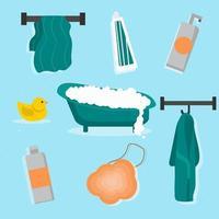 conjunto de ferramentas de banheiro vetor