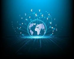 conceitos de negócios, finanças, mudança global de moeda e redes financeiras azuis vetor
