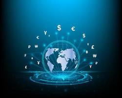 conceitos de negócios, finanças, transferências de dinheiro, mudanças na moeda mundial e redes financeiras azuis vetor