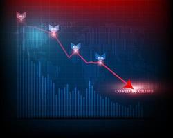 os mercados de ações despencam com o medo do vírus covid-19. crise do mercado de ações seta para baixo vetor