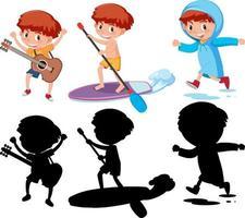 conjunto de uma personagem de desenho animado de menina fazendo atividades diferentes com sua silhueta vetor