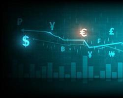 análise de bolsa de valores de símbolo ou gráfico de negócios forex e transferência de dinheiro global vetor