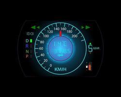fundo de movimento do velocímetro do console do carro e ícones de aviso vetor