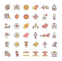 conjunto de ícones de cores rgb de câncer de pele