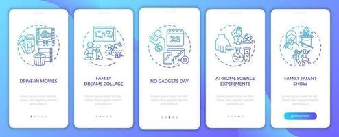 tela de página de aplicativos para dispositivos móveis com idéias divertidas para a família com conceitos vetor