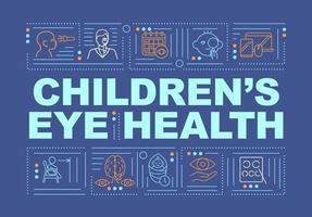 saúde ocular de crianças palavra conceitos banner