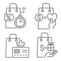 Ícones lineares para compradores de presentes e recompensas especiais definidos para os modos claro e escuro vetor