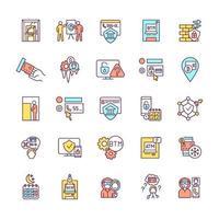 conjunto de ícones de cores rgb de segurança bancária vetor