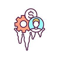 educação do ícone de cor rgb do cliente do banco