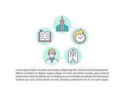 ícone do conceito de frequência à igreja com texto vetor