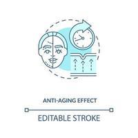 ícone de conceito azul de efeito anti-envelhecimento vetor
