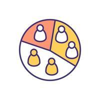 ícone de cor rgb de segmentação de audiência vetor