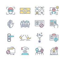 conjunto de ícones de cores rgb biometria
