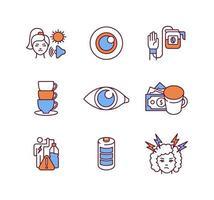 conjunto de ícones de cores rgb de bebidas energéticas vetor