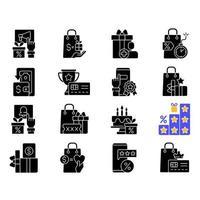 Ícones de glifo preto do programa de fidelidade em um espaço em branco vetor