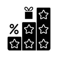 mais pontos e recompensas ícone de glifo preto vetor