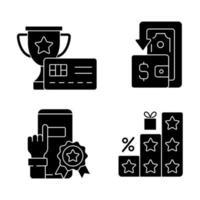 benefícios e reembolsos ícones de glifo preto definidos no espaço em branco vetor