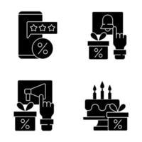 ícones de glifo preto de desconto e porcentagem definidos no espaço em branco vetor
