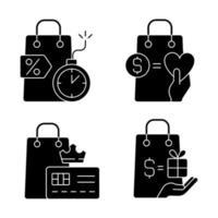 compradores de presentes e recompensas especiais ícones de glifo preto definidos no espaço em branco vetor