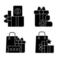 compre descontos e cashback ícones de glifo preto definidos no espaço em branco