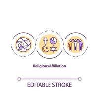 ícone do conceito de afiliação religiosa vetor