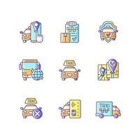 conjunto de ícones de cores rgb de serviço de táxi vetor