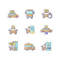 conjunto de ícones de cores rgb de transporte urbano vetor