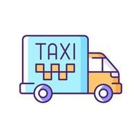 ícone de cor rgb de táxi de carga vetor