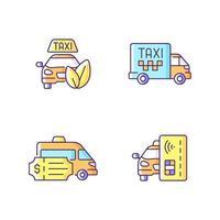 conjunto de ícones de cores rgb de táxi ecológico vetor