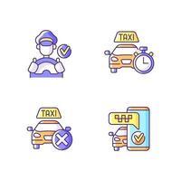 conjunto de ícones de cores rgb de serviço de táxi urbano vetor
