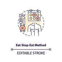 ícone do conceito de método comer-parar-comer vetor