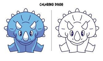 página para colorir de triceratops azul fazendo divisões vetor